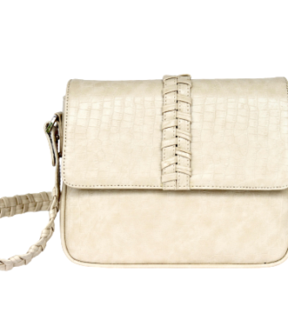 Cartera Crossbody SIDERAL en cuero Crocco vegano color marfil